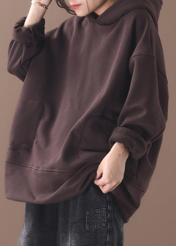 Natural brown cotton crane tops winter tunic hooded top