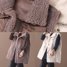 Load image into Gallery viewer, Natural chocolate Plus Size maxi coat Fashion Ideas drawstring sleeveless women coats