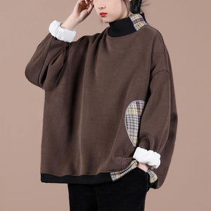 Natural chocolate patchwork plaid clothes For Women high neck oversized spring shirt