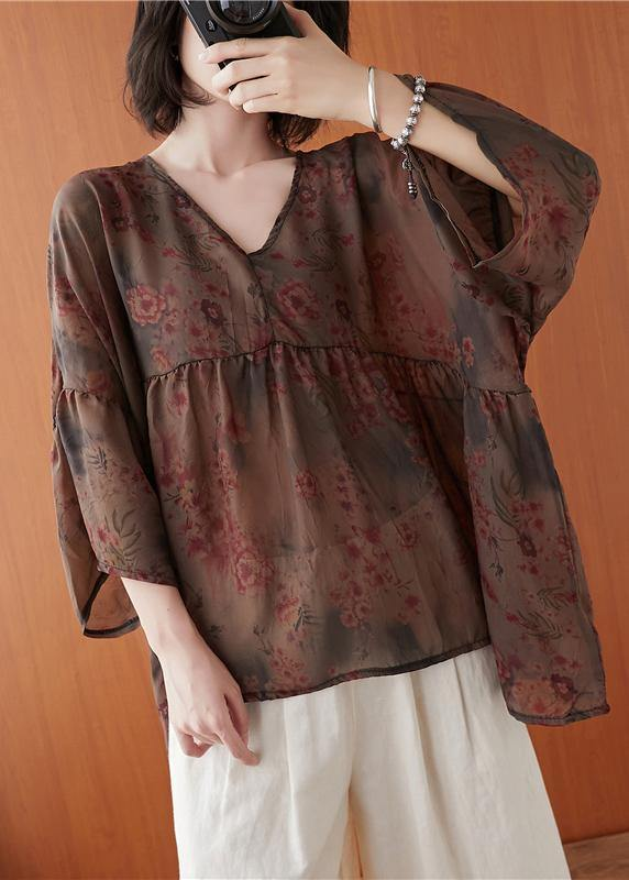 Natural floral clothes For Women v neck asymmetric summer blouses