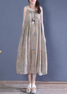 Natural floral cotton clothes Spaghetti Strap Robe summer Dress