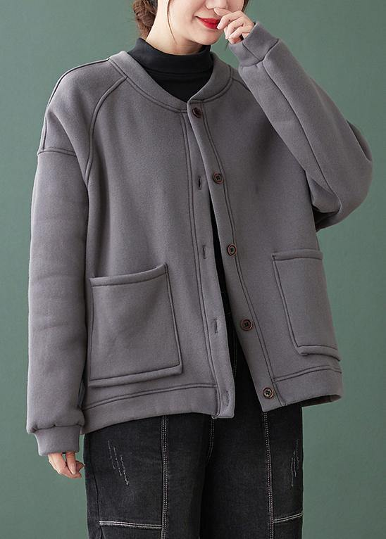 Natural gray Fine coat for woman Gifts o neck Button Down coats