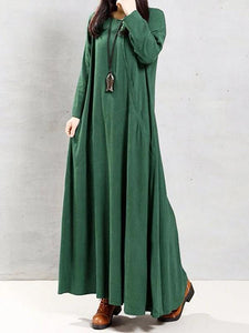 Natural green linen clothes o neck patchwork Robe spring Dress
