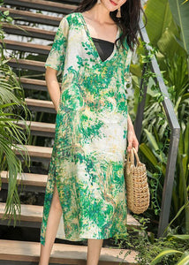 Natural green print linen Wardrobes v neck side open Maxi summer Dresses