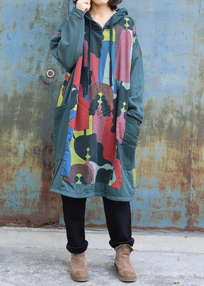 Natural green prints cotton tunics for women patchwork long hooded Dress
