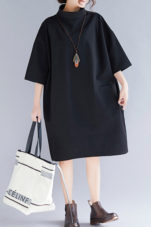 Natural high neck Half sleeve Knit dresses Mom Knit black baggy Dress spring