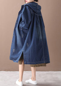 Natural hooded Hole Plus Size outfit denim blue silhouette coats