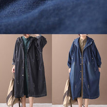 Load image into Gallery viewer, Natural hooded Hole Plus Size outfit denim blue silhouette coats
