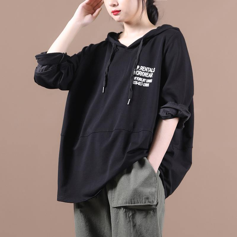 Natural hooded patchwork tops women Inspiration black Letter shirts
