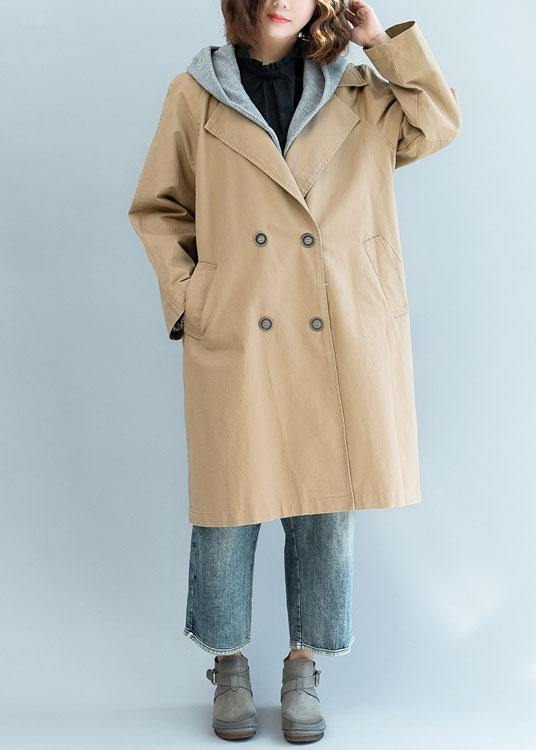 Natural khaki top quality trench coat Sleeve double breast fall jackets