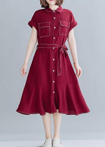 Natural lapel Ruffles linen clothes For Women Work red Dresses