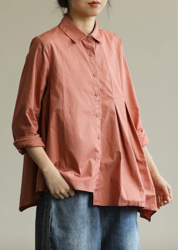 Natural lapel asymmetric top Wardrobes orange blouse