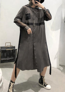 Natural lapel collar patchwork tulle cotton tunic dress Work gray green Traveling lapel Dress
