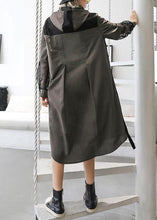 Load image into Gallery viewer, Natural lapel collar patchwork tulle cotton tunic dress Work gray green Traveling lapel Dress