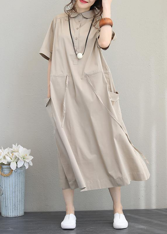 Natural lapel drawstring cotton clothes linen khaki Maxi Dress
