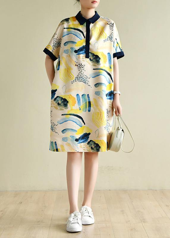 Natural lapel short sleeve Tunics design yellow print Dresses