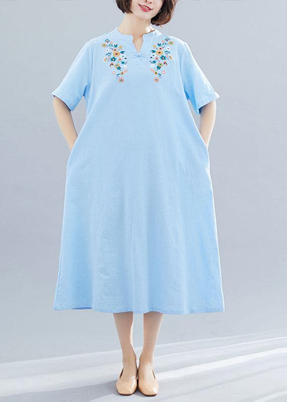769f6c1253 Natural light blue linen cotton clothes embroidery Plus Size Clothing  summer Dresses