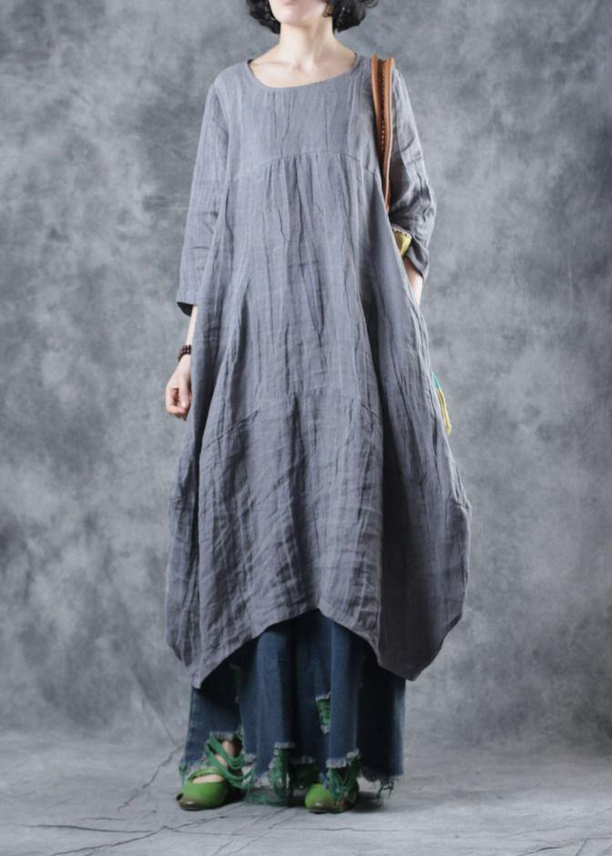 Natural linen clothes For Women Work gray Dress o neck