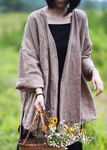 Natural linen top silhouette plus size Casual Pure Color Lacing Long Sleeve Coat