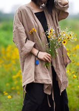 Load image into Gallery viewer, Natural linen top silhouette plus size Casual Pure Color Lacing Long Sleeve Coat