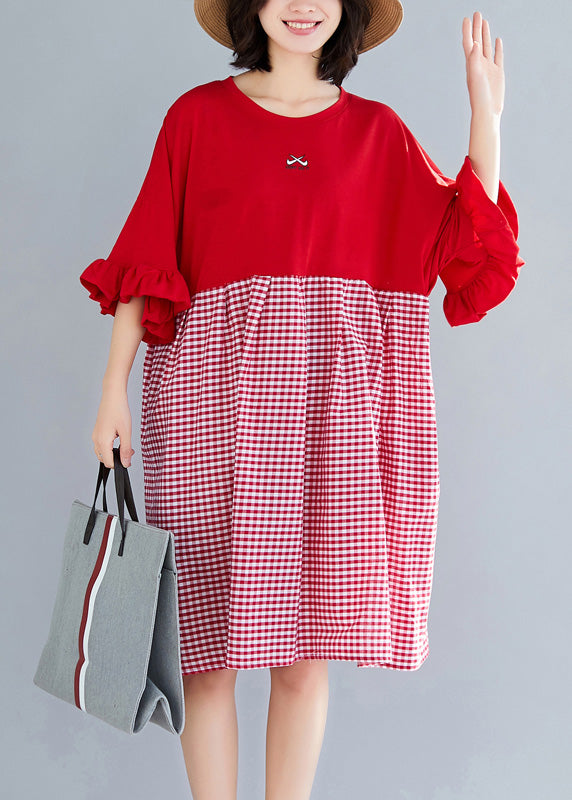 Natural o neck Butterfly Sleeve Cotton clothes Omychic Outfits red Plaid short Dresses Summer