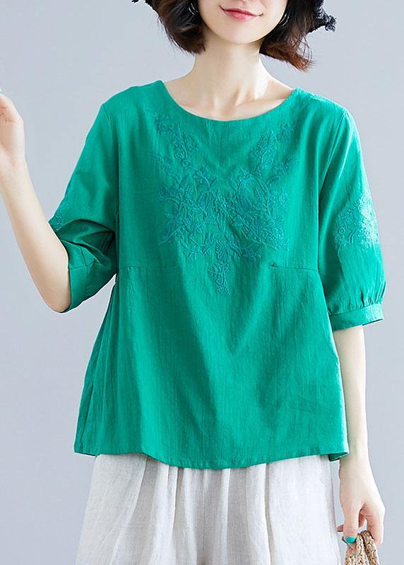 Natural o neck embroidery cotton clothes Outfits green blouses summer