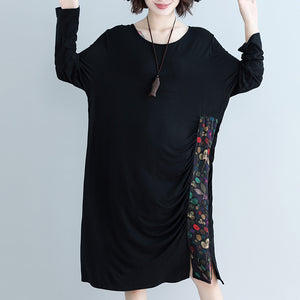 Natural o neck patchwork Cotton Blended Tunics Casual Work black Knee Dress