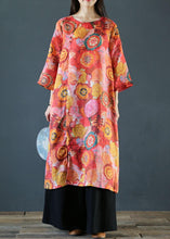 Load image into Gallery viewer, Natural o neck side open linen clothes Photography floral Dress