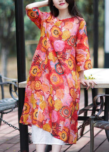 Natural o neck side open linen clothes Photography floral Dress
