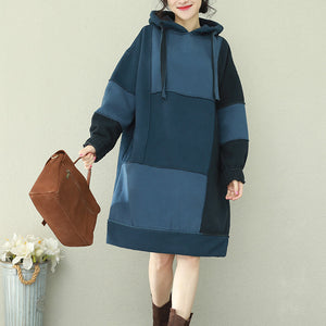 Natural patchwork hooded Cotton quilting dresses 2019 blue Midi Dress