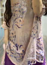 Load image into Gallery viewer, Natural pink prints linen top silhouette low high design short summer shirt