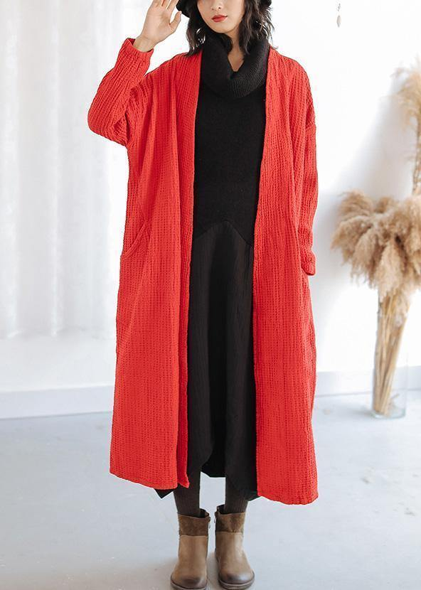 Natural red Plus Size trench coat Outfits pockets fall women coats