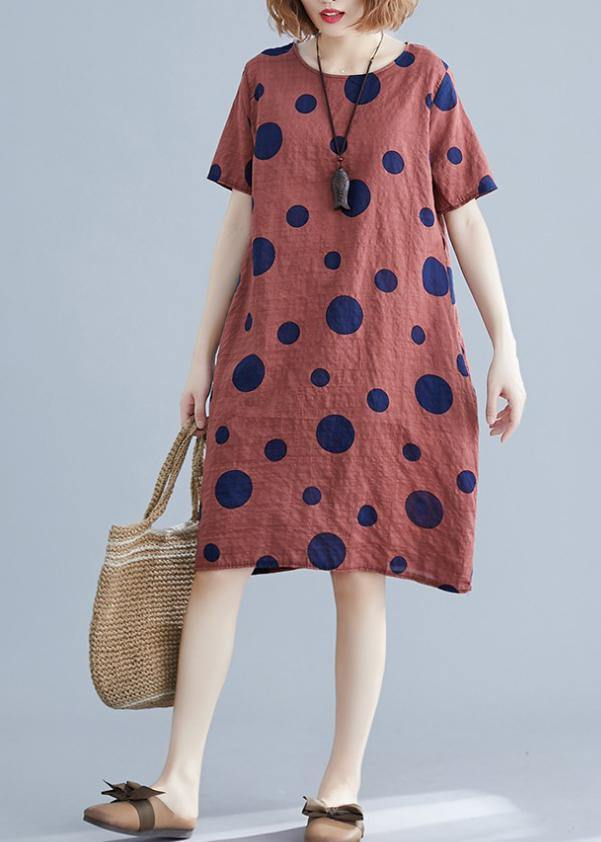 Natural red dotted Cotton dress o neck pockets shift Dres