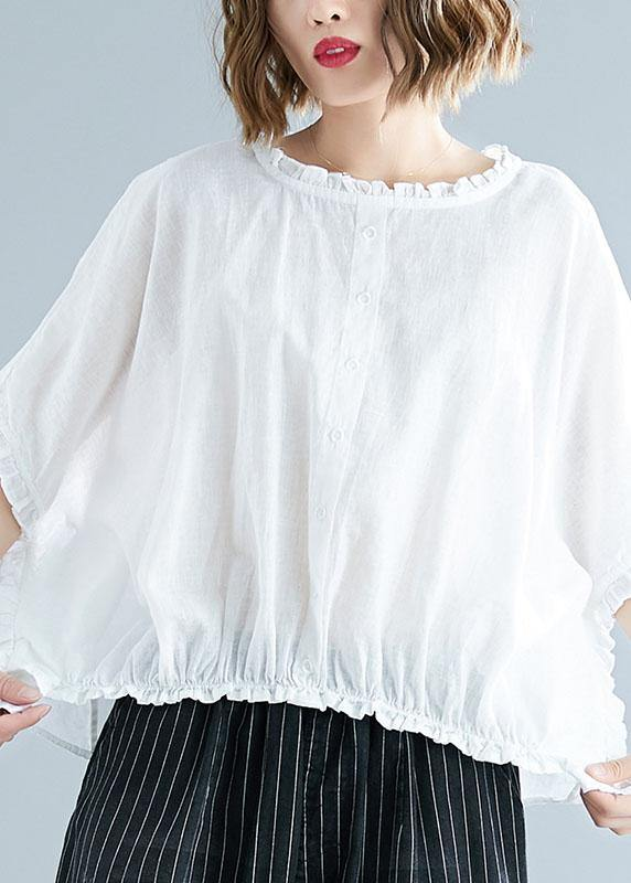 Natural ruffles cotton Long Shirts Tunic Tops white top summer