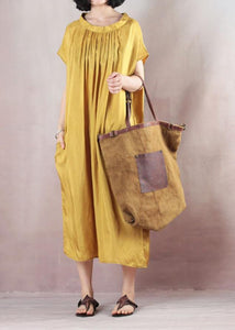 Natural short sleeve cotton summer clothes Runway yellow Plus Size Dresses