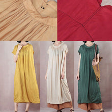 Load image into Gallery viewer, Natural short sleeve cotton summer clothes Runway yellow Plus Size Dresses