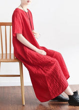 Load image into Gallery viewer, Natural short sleeve linen clothes Tutorials red plaid Dress summer