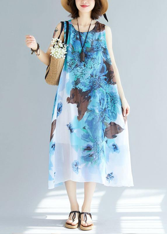 Natural sleeveless cotton Tunics Wardrobes blue prints long Dresses summer