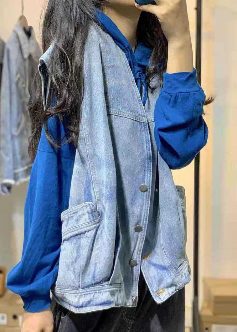 Natural sleeveless cotton clothes For Women Shirts denim blue v neck shirts fall
