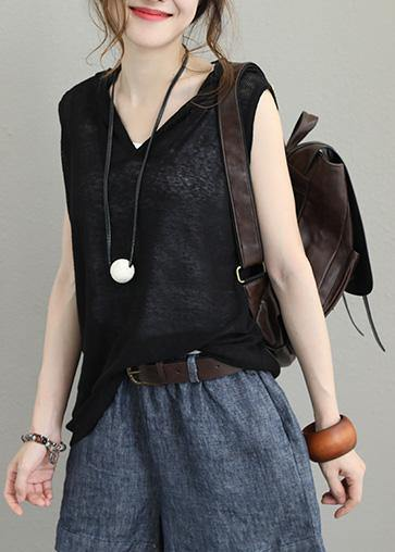 Natural sleeveless cotton clothes For Women hooded oversized black blouses