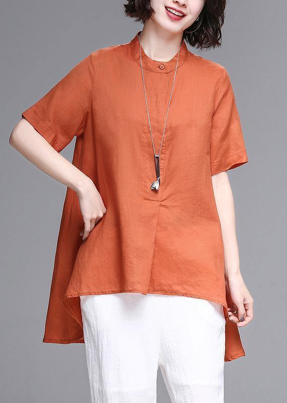 Natural stand collar asymmetric linen cotton box top orange box shirts summer