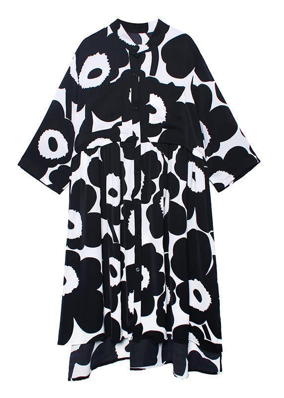 Natural stand collar asymmetric quilting dresses Inspiration black print Dresses