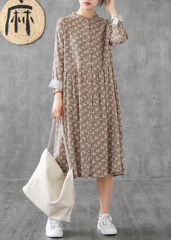 Natural stand collar patchwork cotton linen dresses Sleeve khaki print Dress