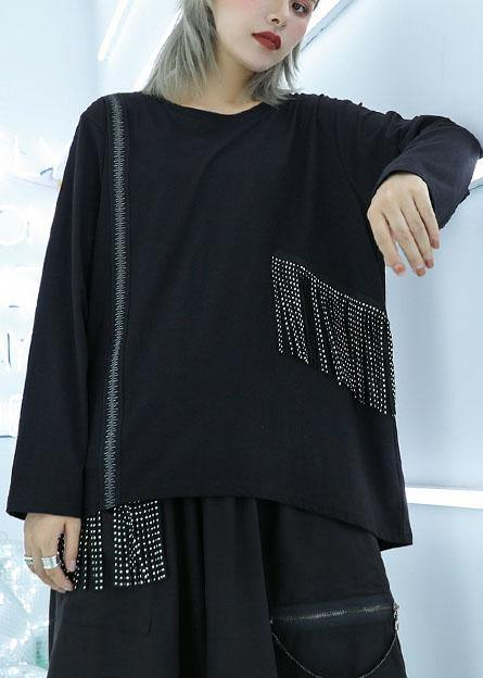 Natural tassel cotton clothes pattern black pullover fall