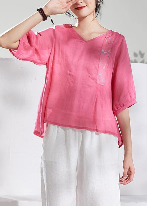 Natural v neck half sleeve linen summerclothes For Women pink print blouse