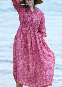 Natural v neck linen tie waist Wardrobes Shirts purple Dress