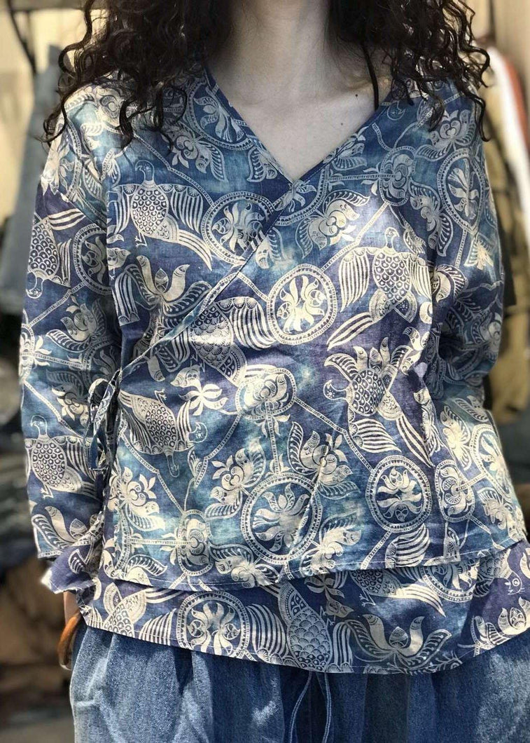 Natural v neck linen tunic top pattern blue prints blouses fall