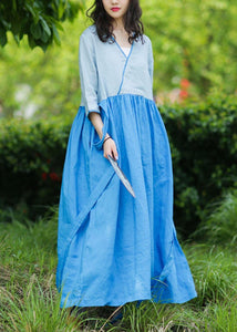 Natural v neck patchwork linen summer Long Shirts pattern blue Dresses
