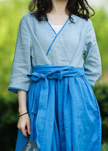Load image into Gallery viewer, Natural v neck patchwork linen summer Long Shirts pattern blue Dresses