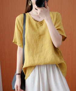 Natural v neck tie waist tops women blouses Christmas Gifts yellow embroidery shirts